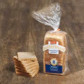 Butter-Toast geschnitten