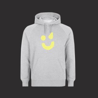 Hoodie grau - Smiley gelb L