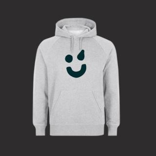 Hoodie grau - Smiley grün L