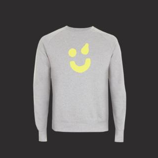 Pullover grau - Smiley gelb L