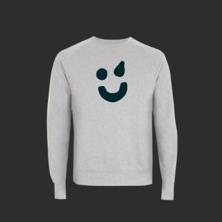 Pullover grau - Smiley grün L